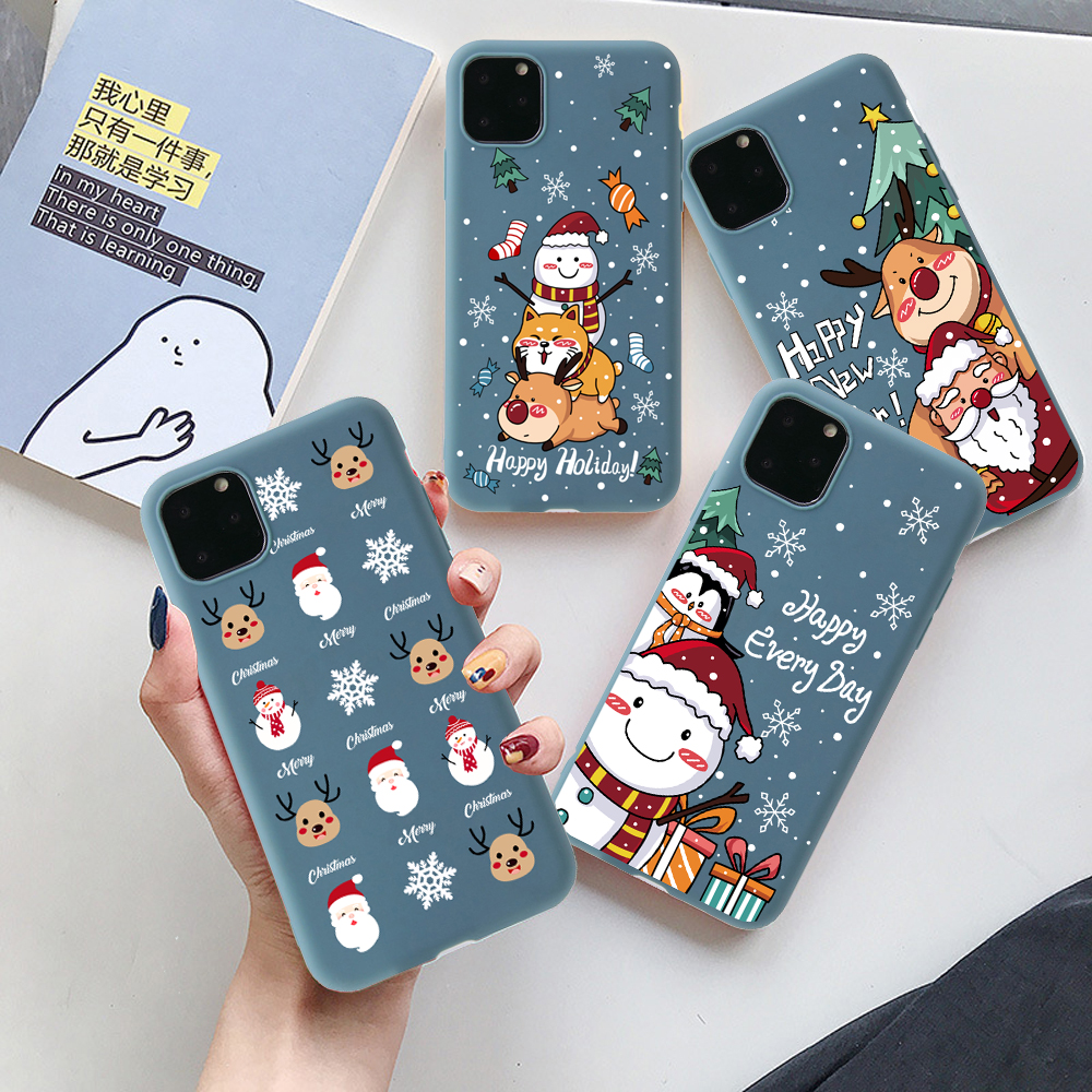 Cute Cartoon Soft TPU Case For iPhone 11 Pro XS Max XR X SE 2020 Cover For iphone 7 8 6 6S Plus 7Plus Case Bear Christmas Gift