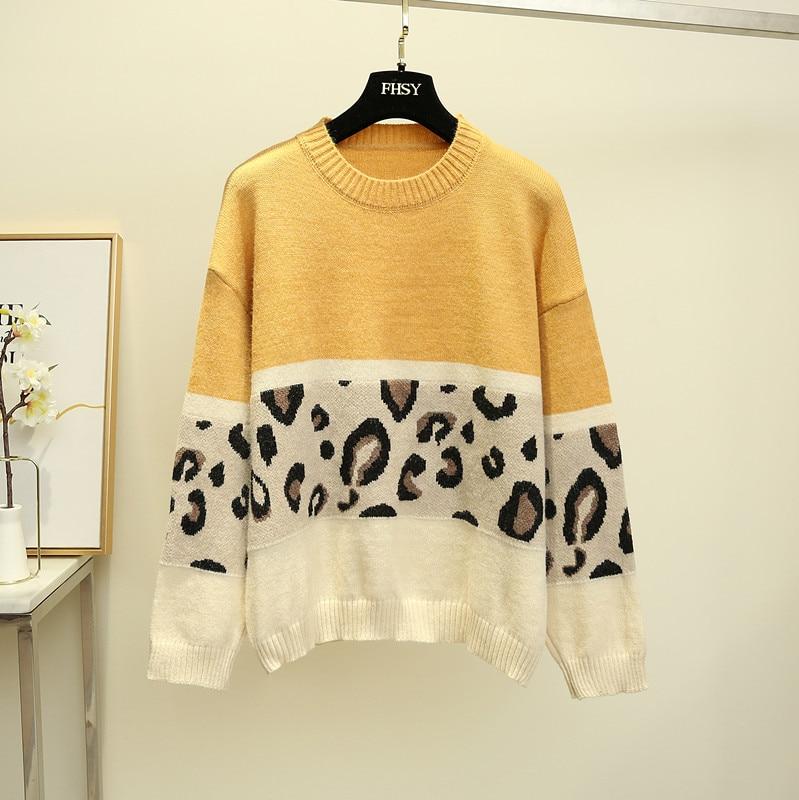HAMALIEL модный розовый свитер с леопардовым принтом, осенне-зимний женский вязаный Свободный пуловер с длинным рукавом - Цвет: Цвет: желтый