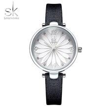 купить SK watch women watches luxury famous brand montre femme 2019 black leather watch ladies wristwatch reloj mujer relogio feminino по цене 879.09 рублей