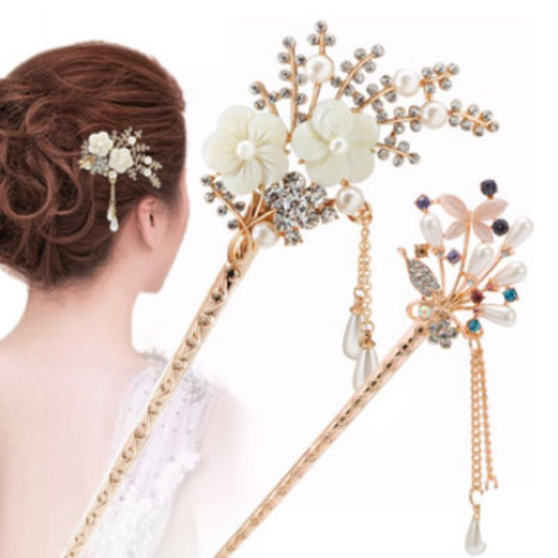 Elegant Sexy Hair Ornaments Flowers Hair Clip Chinese Style Hair Stick Accessories Hairpin Tassel Headdress For Women Girls