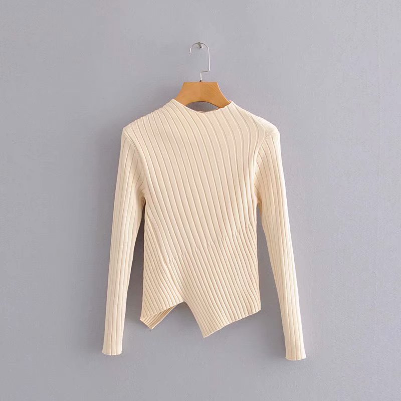 2020 New Women Fashion Solid Color Irregular Hem Sweater Ladies Basic Knitted Slim High Street Thin Sweaters Chic Tops S220