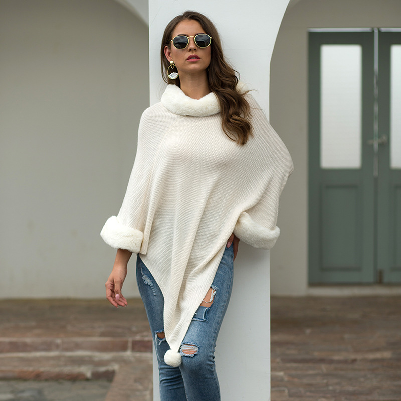 womens sweaters 2019 fall fashion knitted cloak pullover plus size clothing fur collar loose cape sweater jumpers ladies 77102