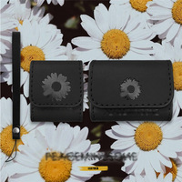 Luxury brand Black Leather Daisy Case for AirPods pro3 Wireless Earphone Charging case for AirPods 1 2 Bluetooth cover bag box
