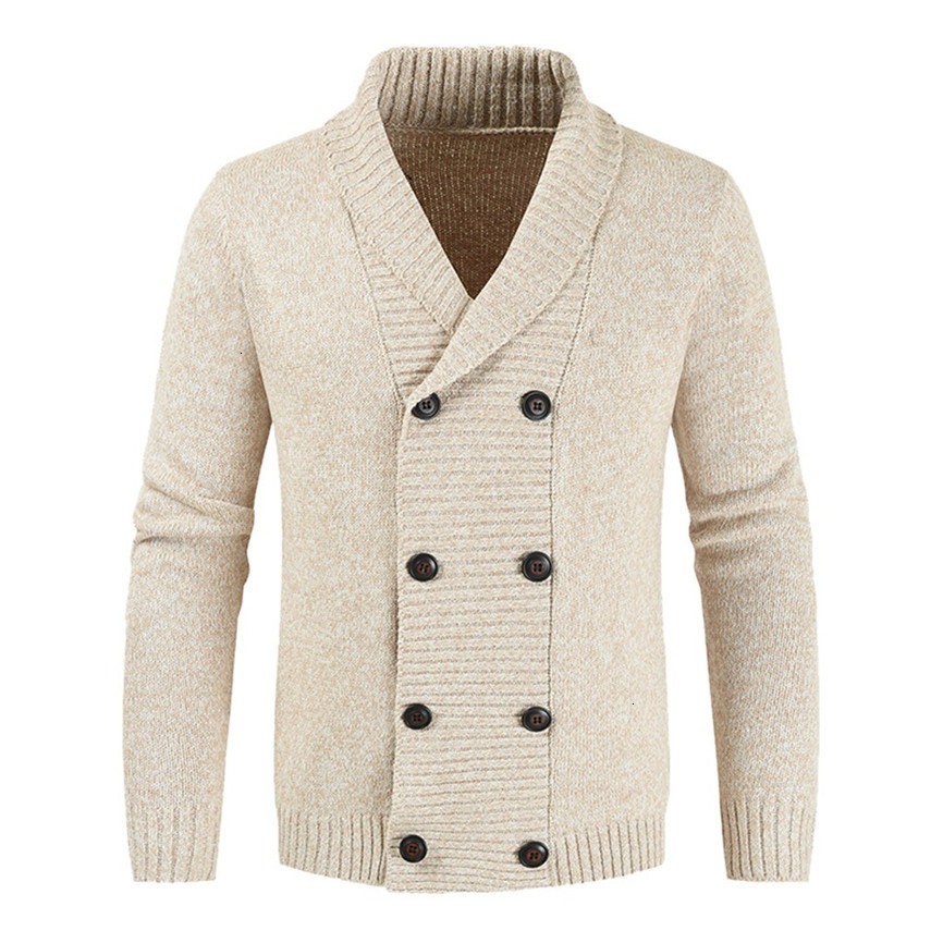 Men's Casual Warm Knit Double-Breasted Solid Color Jacket Cardigan 2019 Long Sleeve Basical Knitted Sweater Coat