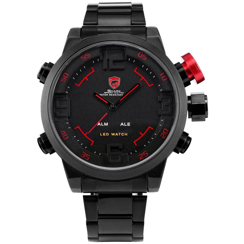 Gulper SHARK Sport Watch Brand Mens Black Luxury Full Steel Band Digital Calendar Wristwatches Quartz Relogio Masculino