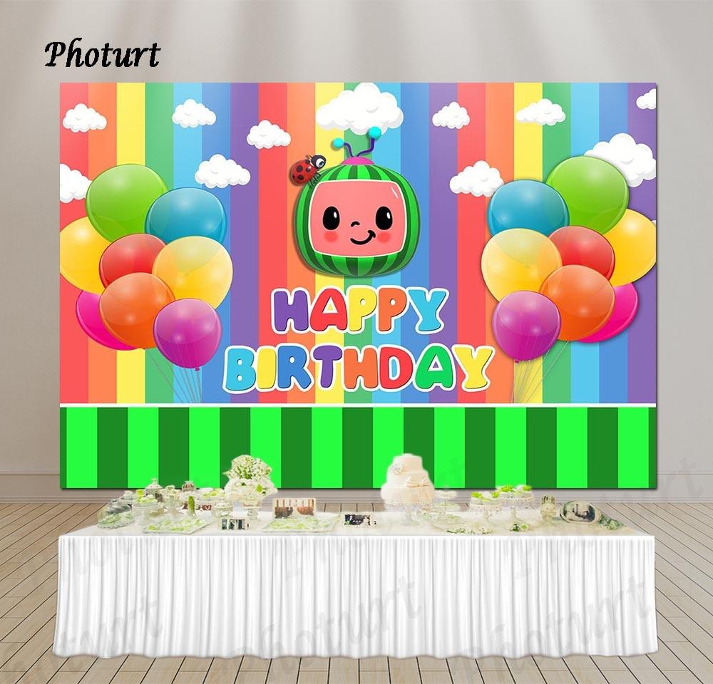PHOTURT Cocomelon для детской фотосъемки 1st, хороший подарок на день рождения фон для фотосъемки баннер шар дыни фон для фотосъемки с изображением р...