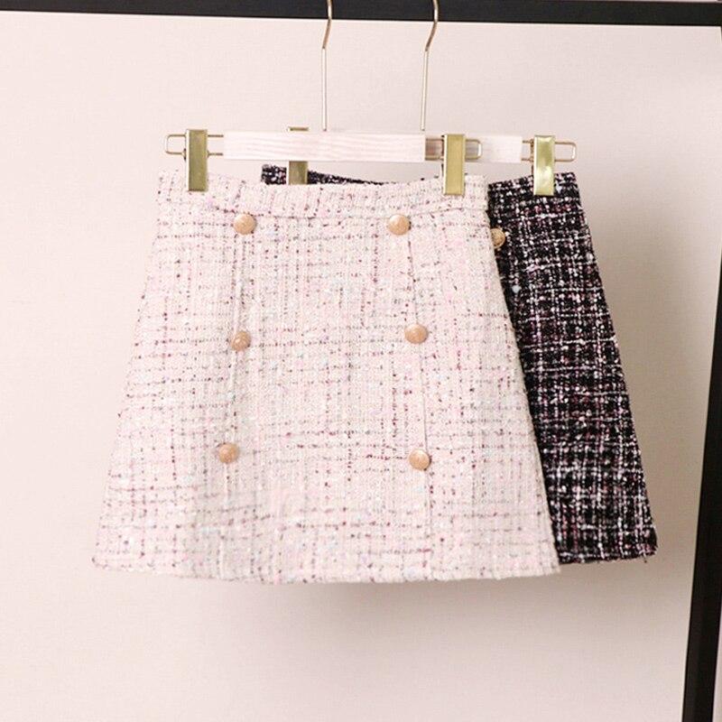 Women Tweed Skirt 2020 Korean Of Autumn/winter High Waist Slimming A Fashion Double-breasted Mini Skirt
