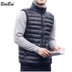 BOLUBAO Brand Men Lightweight Down Vest Coat Autumn New Men Solid White Duck Down Vest Fashion Casual Down Vest Male Clothing