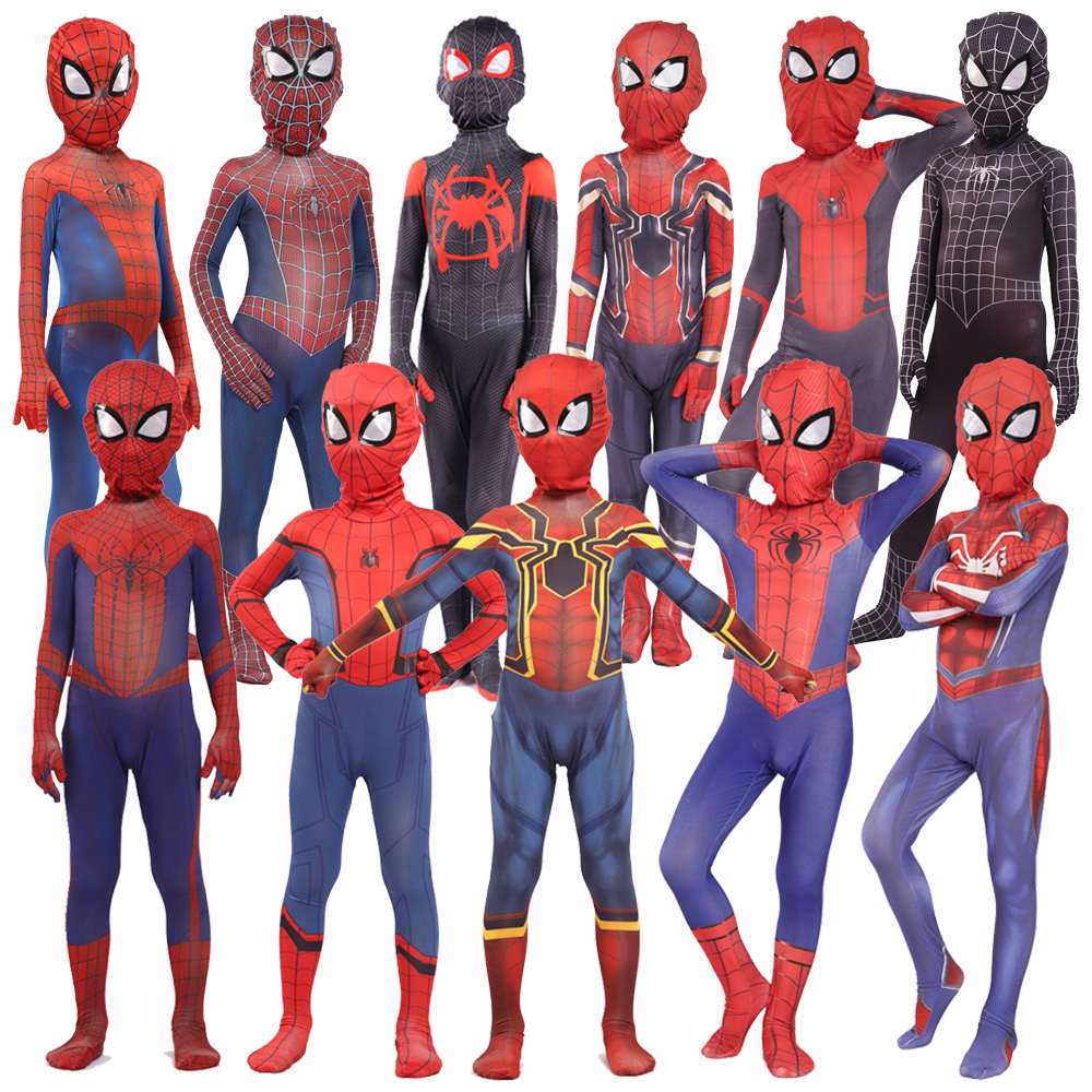 New 2019 Kids Spider Zentai Peter Parker Cosplay Costume Halloween Costumes For Kid Spidesuit Costume