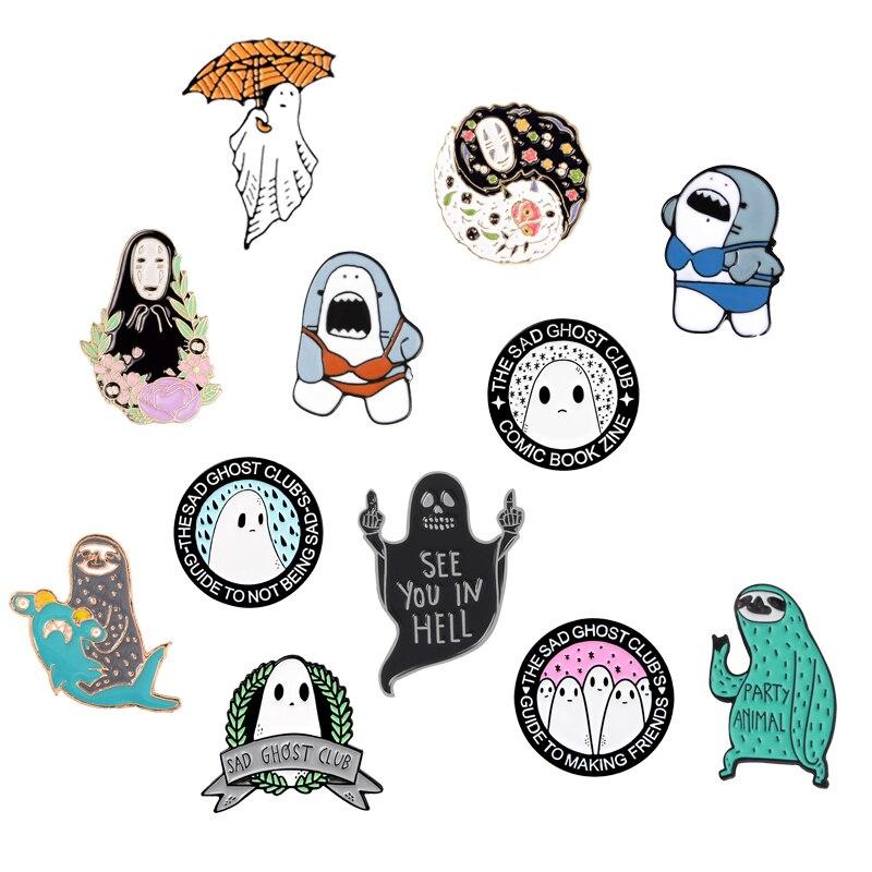 Feliz halloween! Broche de macarrão com desenho japonês, pin com esmalte de desenho animado ghost club ramen broches de anime, joias de emblema