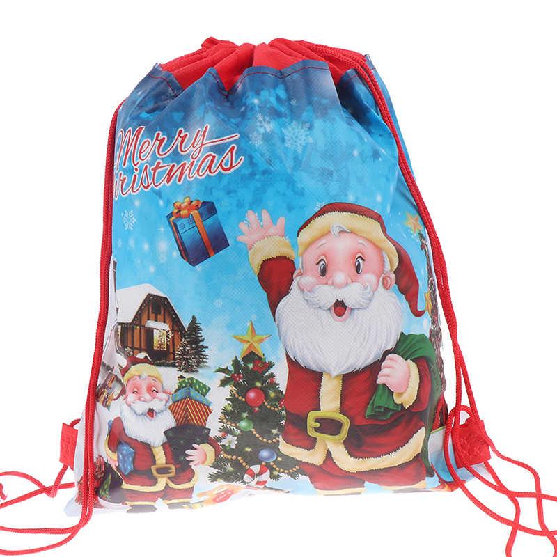 Drawstring Backpack Santa Claus Green Christmas Bags