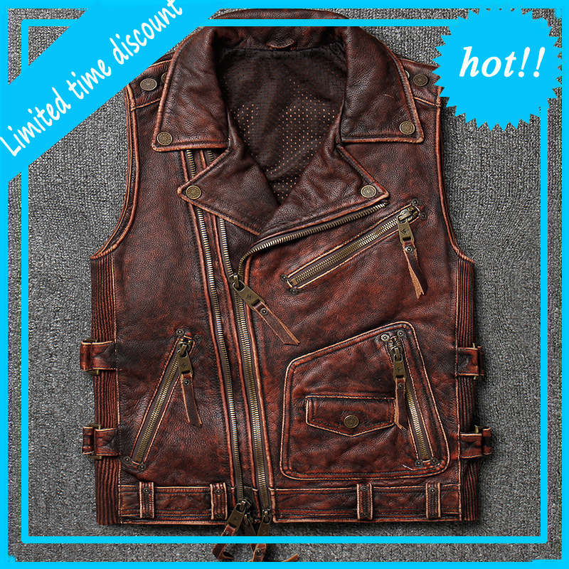 Men's High Quality Soft Cowhide Vest Large Size Motorcycle Biker Sleeveless Jacket for Male Thick Genuine Leather Vintage Vest