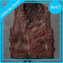 Men's High Quality Soft Cowhide Vest Large Size Motorcycle Biker Sleeveless Jacket for Male Thick Genuine Leather Vintage Vest(China)
