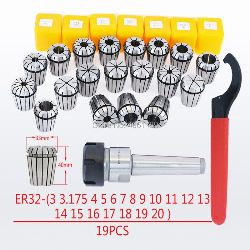 MT2 ER32 M10 MT3 ER32 M12 MT4 ER32 M16 cône Morse tige porte-outil ER32 serrage 19 pièces clé 1 pièces pour CNC fraiseuse