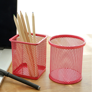 4 Colors Round Cosmetic Brush Holders Pen Pencil Pot Holder Stationery Container Storage Container Office Desk Organizer Office