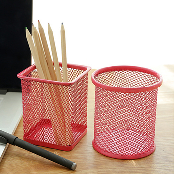 4 Colors Round Cosmetic Brush Holders Pen Pencil Pot Holder Stationery Container Storage Container Office Desk Organizer Office image