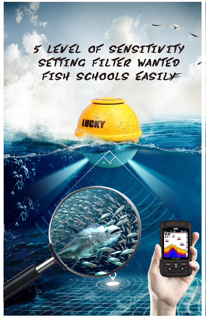 LUCKY  FF718LiC-W Fish Finder Wireless Fishfinder Fishing Sonar