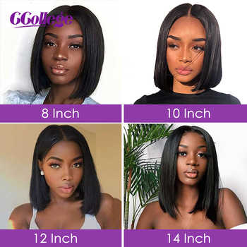 Ccollege Straight Lace Front Bob Wigs For Women Brazilian Remy Human Hair Blunt Cut Style Swiss Lace Frontal Closure Bob Wigs