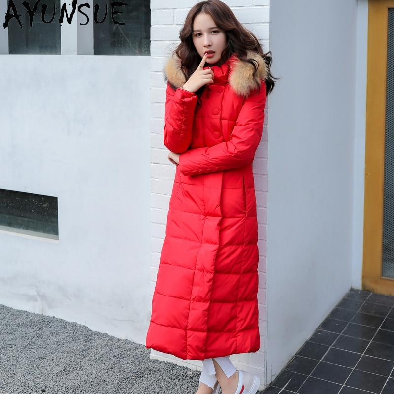 COZOKCOZOKHigh Quality Fashion Women's Down Jacket Genuine Raccoon Fur Collar Female Winter Parkas Women Coats Ropa Mujer Zjt255