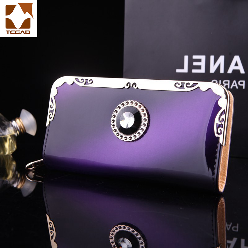 Women's Wallet With Rhinestones Colours Patent Leather Wallets Women Long Carteras De Charol Sac Femme 2019 Varnished Purse