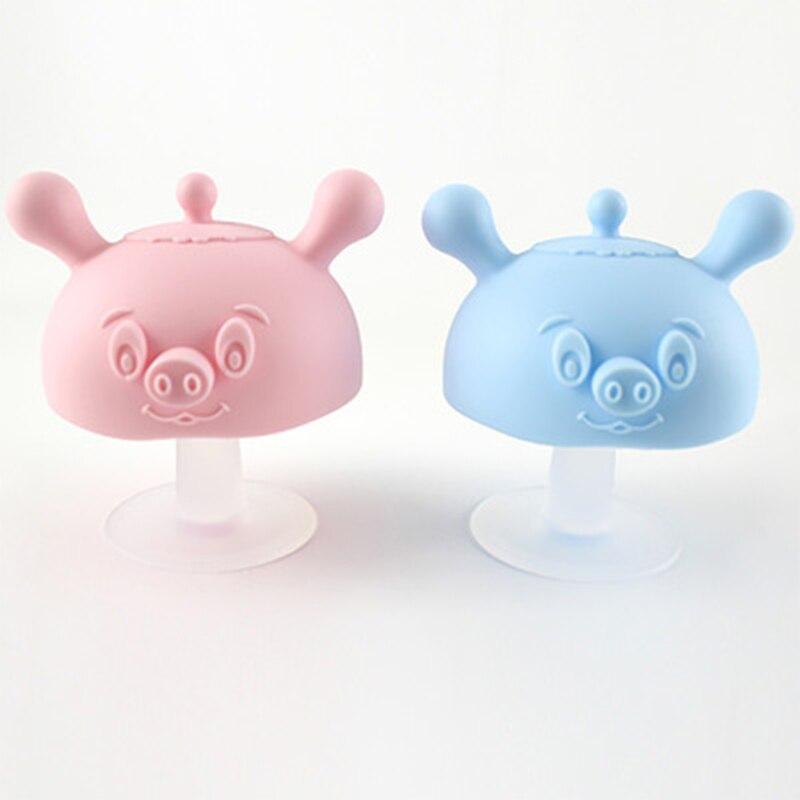 Baby Silicone Teethers Newborn Cartoon Small Mushroom Teething Toy Multifunction Chewable Teethers Infant Nursing Appease Nipple