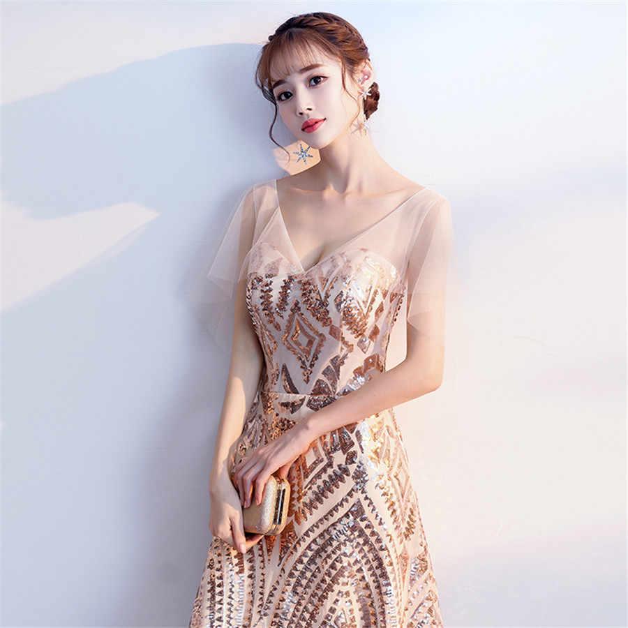Si tratta di Yiiya Abiti da ballo Per Le Ragazze Oro Paillettes Eleganti abiti da gala Più Il Formato Con Scollo A V di Lunghezza Del Tè Vestito Da Partito Delle Donne e1400