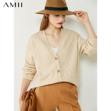 Amii Minimalism Autumn Winter Sweaters For Women Fashion Vneck Full Sleeve Loose Cardigan Female Cardigan Tops  12030481