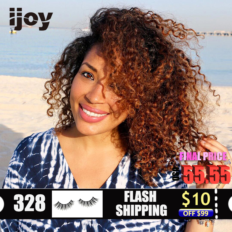 Ombre Colored Afro Kinky Curly Lace Front Human Hair Wigs Short Curly 13*4 Ombre Black And Brown Curl 12-26inches Non-Remy IJOY