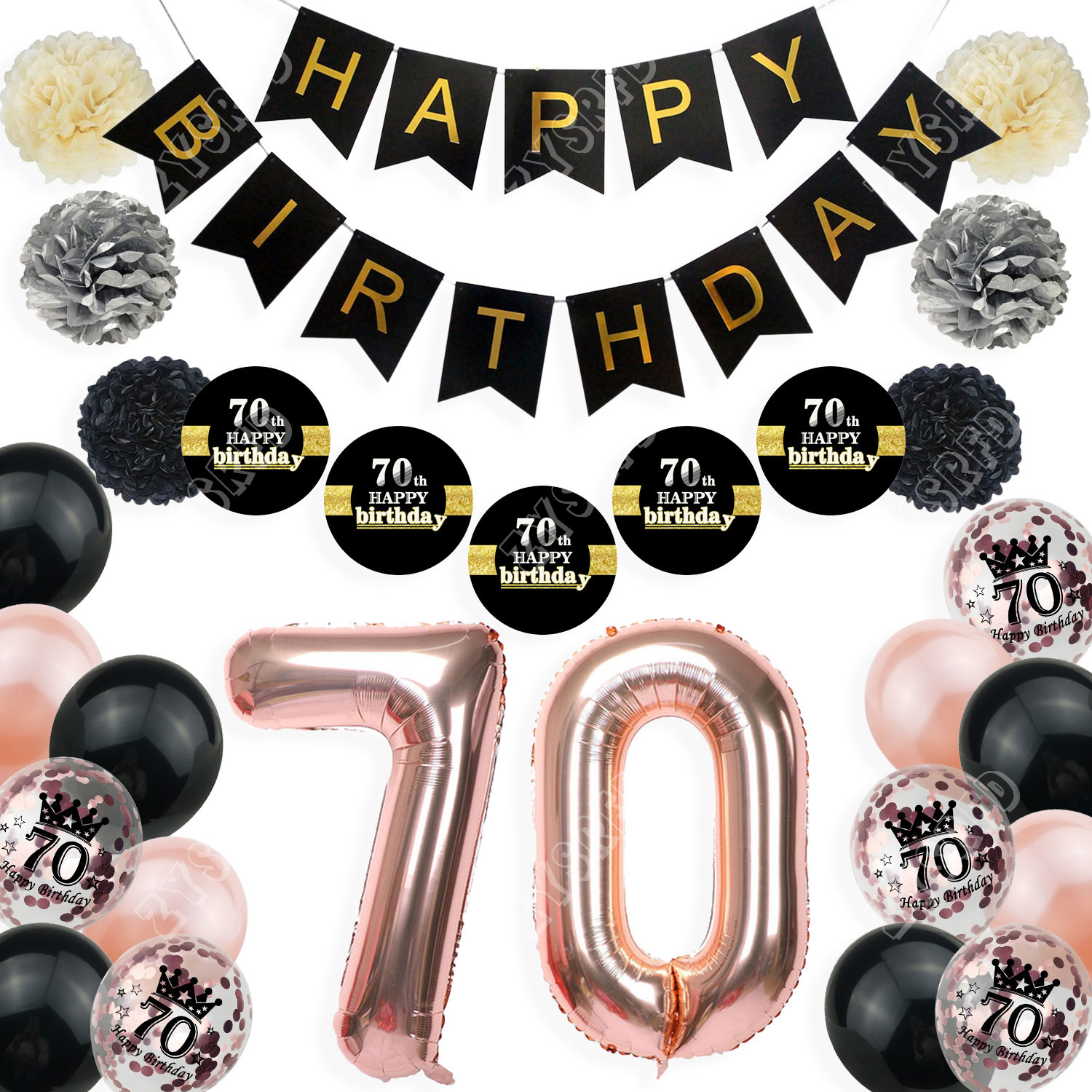 70 Years Old Happy Birthday Balloon Banner Sticker Latex Helium Balloons Paper Pompoms For 70th Anniversary Decorations Adult