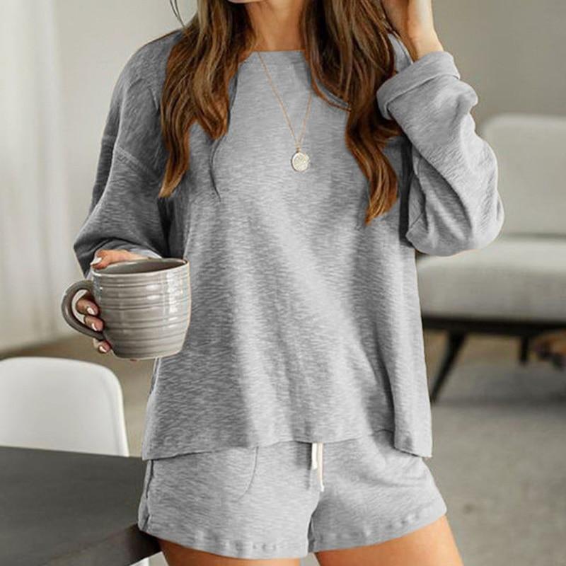 2020 New loungewear women pajama set summer breathable nightgown sleepwear indoor long sleeve sleep tops two pieces pijama mujer (14)
