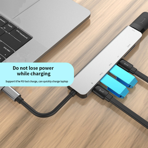 Image 5 - 7 in one TYPE C Docking Station PD USB Hub Multi Surface Carbon Laptop HDMI high speed port for Lenovo Samsung Dock Macbook Pro