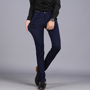 Image 5 - 2020 Spring Non Iron Dress Men Classic Pants Fashion Business Chino Pant Male Stretch Slim Fit Elastic Long Casual Black Trouser