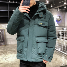 2020 New Winter Parka Men Casual Big Pockets Jacket Plus Velvet Thicken Warm Windproof Coat Male Solid Color  Hooded Outwear 4XL