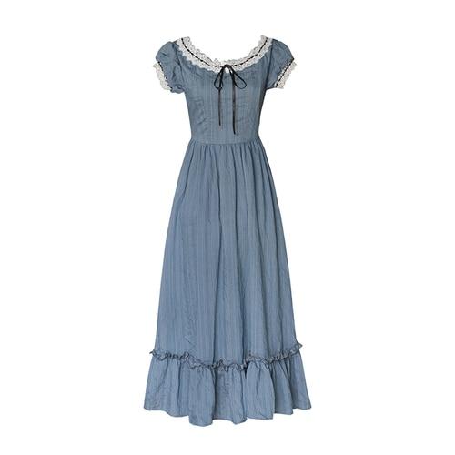 Women Dress Summer Vintage Elegant Slim European Romance Blue Long Dress Retro Lace Sexy Slash Neck Casual Everyday Midi Dress 7
