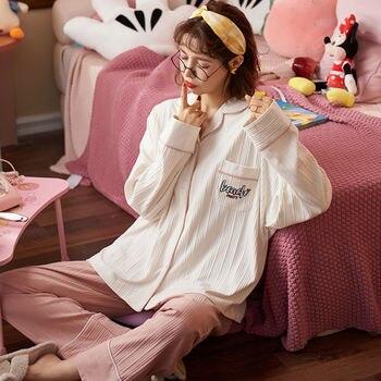 Pijamas cálidos para Mujer, Pijamas de algodón para Mujer, conjunto de ropa de dormir con estampado de Invierno, ropa de hogar informal para Mujer