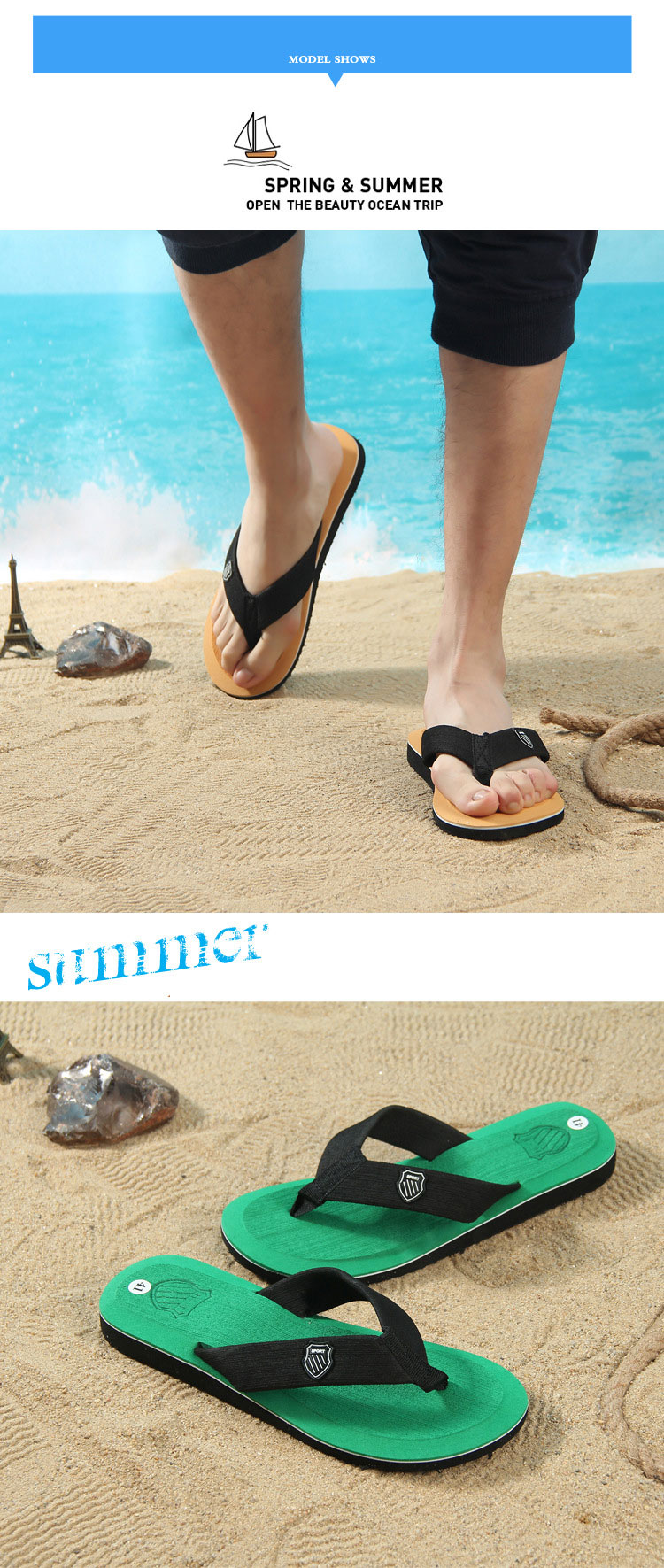 New Arrival Shoe Men Summer MEN'S Slippers Sandals Open Toe Flip-flops Slippers Slides Men Flip Flops Non-slip Sole Man Shoes