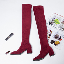 Fashion Thigh High Boots Women Winter 2019 Over Knee Sexy Heels Red Black Autumn New Plush