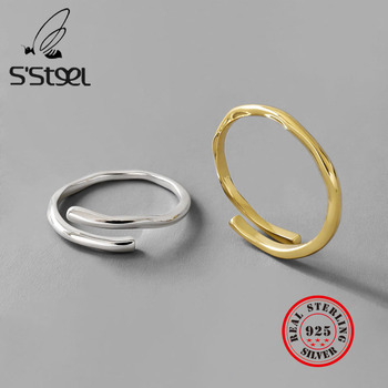 S'STEEL 925 Sterling Silver Rings For Women Minimalist Wave Gold Ring Anillos Plata Para Mujer Bague Bijoux Femme 2019 Sieraden s steel 925 sterling silver rings for women minimalist wave gold ring anillos plata para mujer bague bijoux femme 2019 sieraden