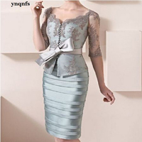 ynqnfs MF134 Elegant 2020 Mother Of The Bride Dresses Sheath Half Sleeves Lace Bow Short Party Dress Mother Dresses