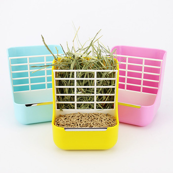 2-in-1 Grass Frame Rabbit Food Pots Fixed Grass Shelf Food Bowl Chinchilla Guinea Pig Food Containers 1