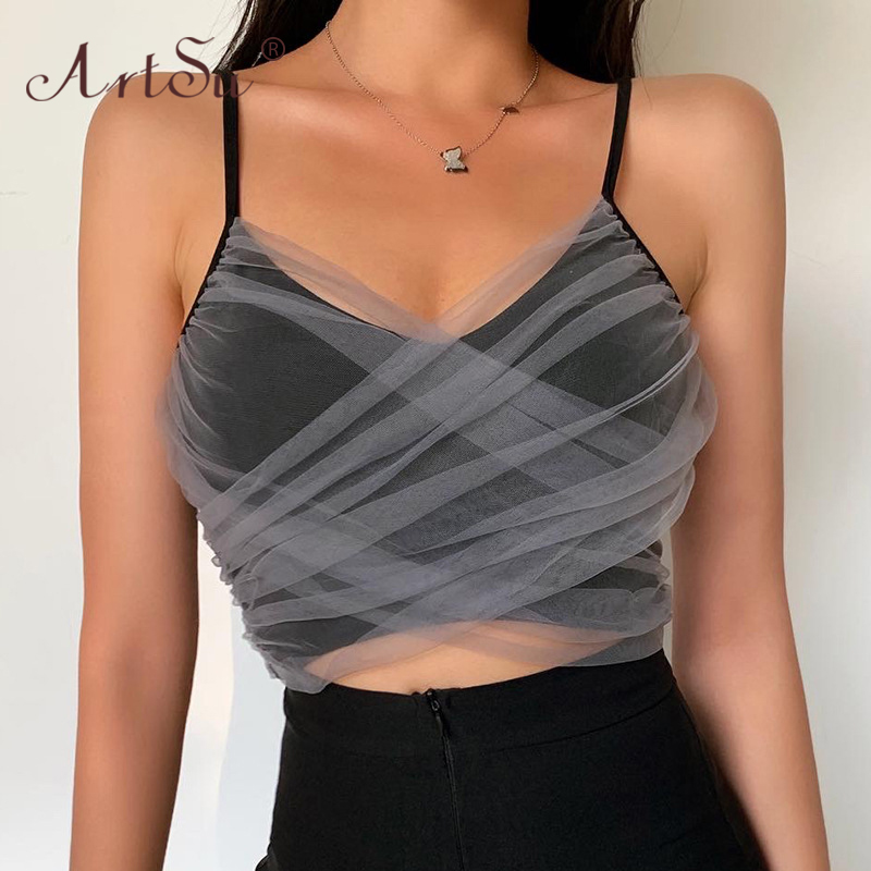 ArtSu Sexy Mesh Low Cut Backless Spaghetti Straps Crop Top 2020 Summer Women Fashion Slim Camis Tops Clubwear Black Tank Top 1