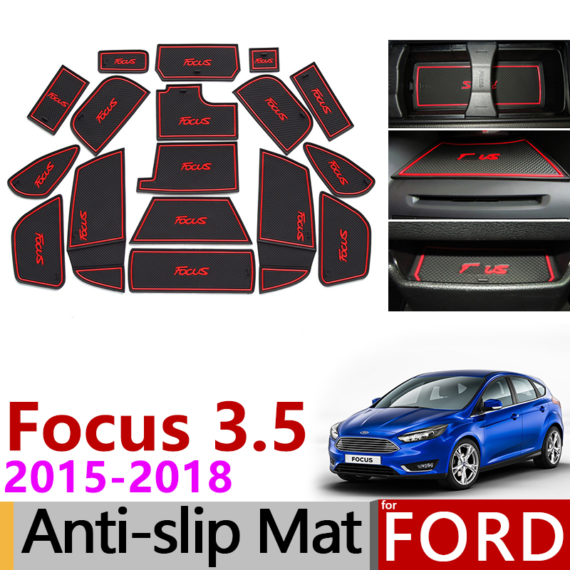 Anti-Slip Gate Slot Mat Rubber Coaster For Ford Focus 3 3.5 MK3 2015 2016 2017 2018 Facelift ST RS Accessories Car Stickers 17Pc