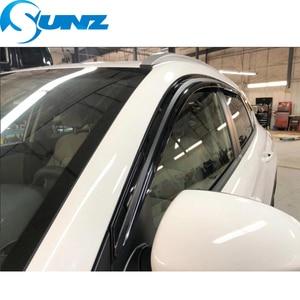 Image 3 - Seite Fenster Deflektoren Schwarz Farbe Auto Wind Deflektor Sonne Schutz Für HYUNDAI SANTA FE 2012 2013 2014 2015 2016 2017 SUNZ