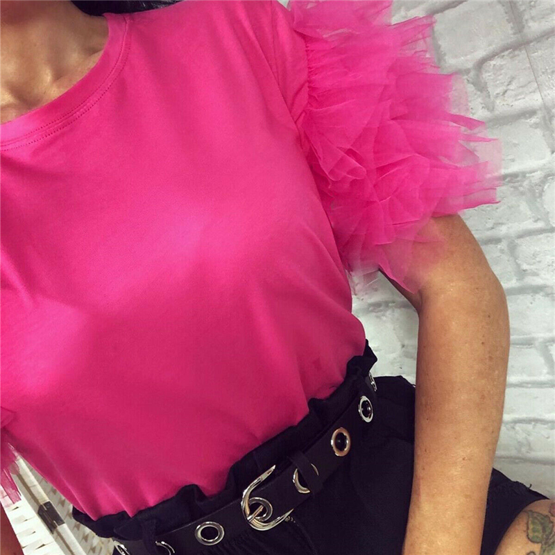 2020 Fashion Elegant Women Summer Lace Tulle Ruffle Short Puff Sleeve Shirt Ladies Solid Sim Casual Blouse Top