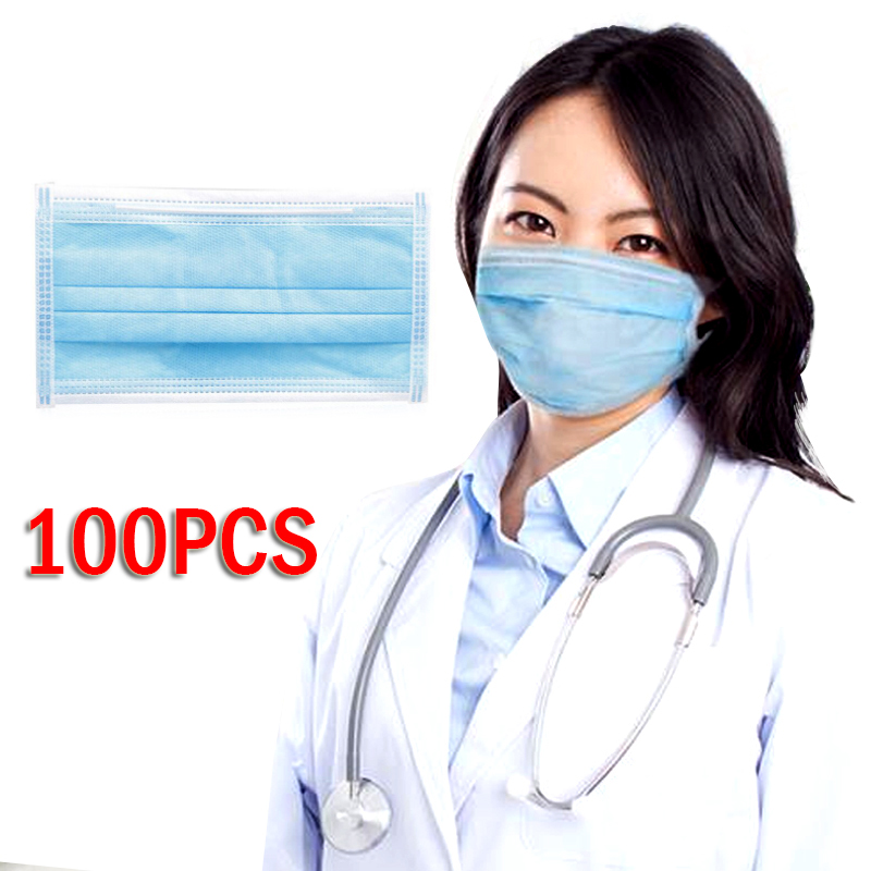 100Pcs Disposable Face Mask 3 Layers Earloop Face Masks Filter Activated Anti Pollution Mask
