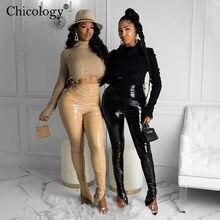 Chicology Pu deri yığılmış yüksek bel pantolon tayt 2020 Y2K moda pantolon kadın kış sonbahar giyim Streetwear giyim