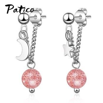 Dulce y encantadora larga borla 925 pendientes colgantes de plata fina para las mujeres Rosa cristal estrella Luna regalo de la joyería