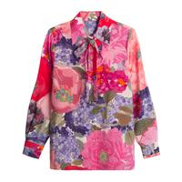 New spring and summer 100 mulberry silk 20 long sleeved duck reed printed silk shirt style dress elegant