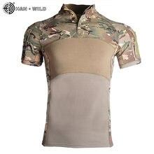 Военная армейская футболка Мужская камуфляжная тактическая рубашка
