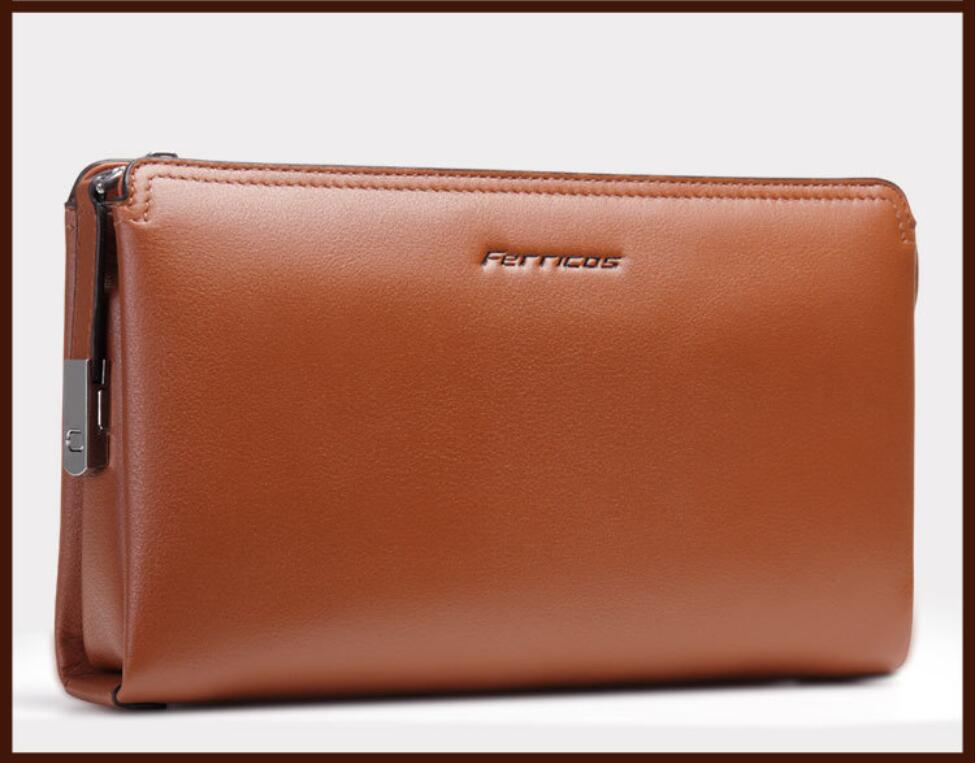P.kuone business double zipper small Genuine leather men day clutch bag,  fashion handbag, large Cowhide leather wallet